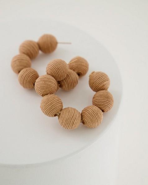 Large Thread Bauble Hoop Earrings -  brown