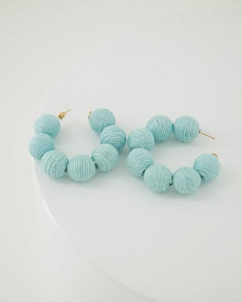 Large Thread Bauble Hoop Earrings -  aqua