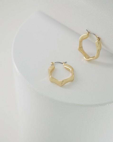 Octagonal Twisted Hoop Earrings -  gold