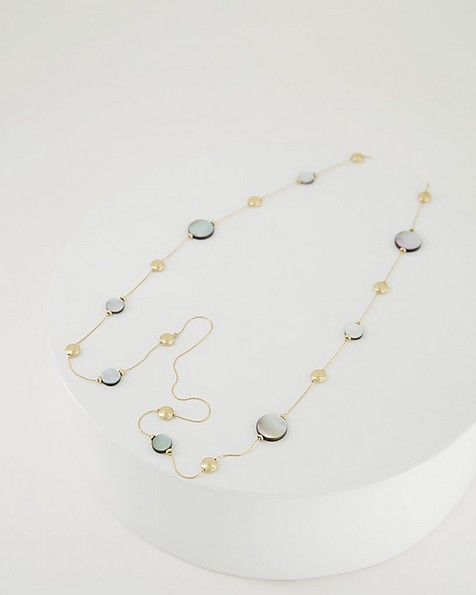 Shell & Metal Beaded Satellite Necklace -  grey