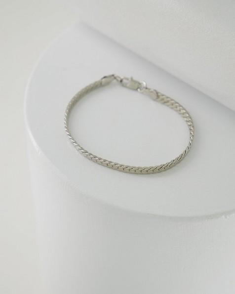 Flat Snake Chain Bracelet -  silver