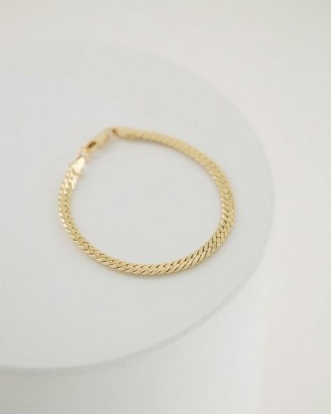 Flat Snake Chain Bracelet -  gold