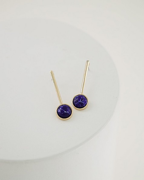 Metal Stem & Stone Drop Earrings -  blue