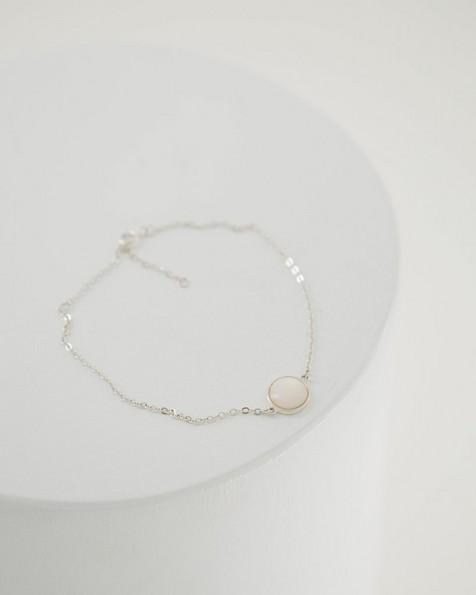 Linked Dot Chain Bracelet -  milk