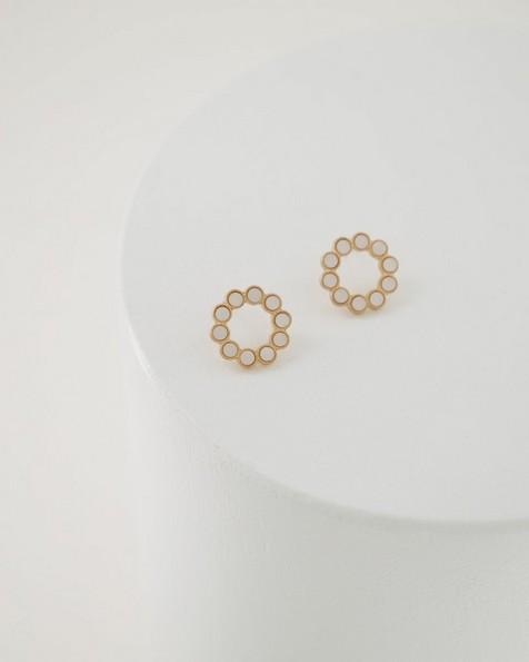 Shell Circle Inset Stud Earrings -  milk