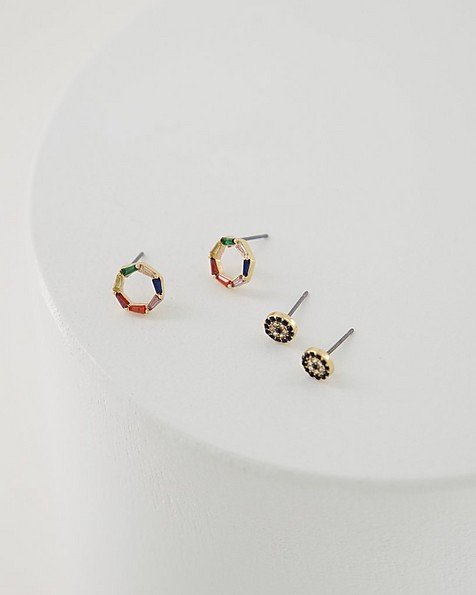 2-Pack Circle Detail Studs -  assorted