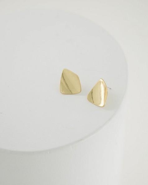 Angular Metal Stud Earrings -  gold