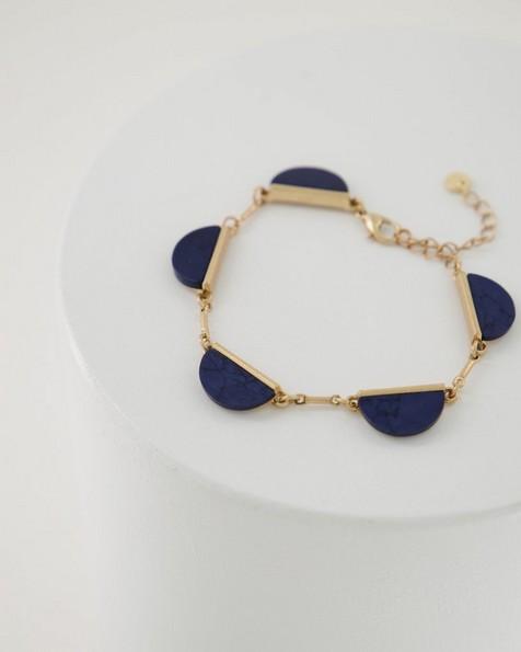 Halfmoon Natural Stone Bracelet -  navy