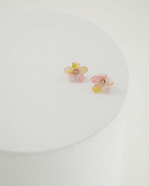 Flower Stud Earrings -  pink