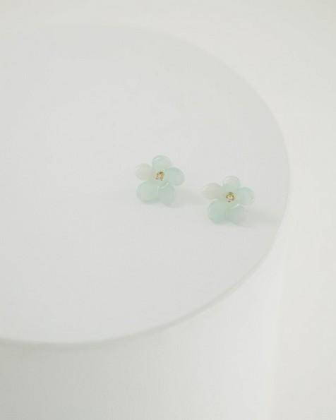 Flower Stud Earrings -  sage