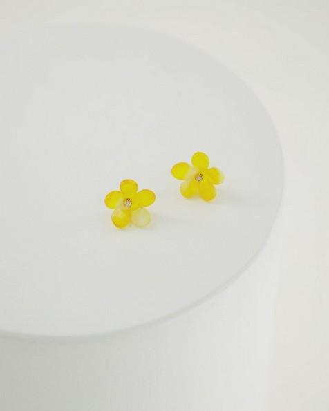 Flower Stud Earrings -  yellow