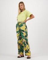 Eva Printed Linen Pants -  yellow