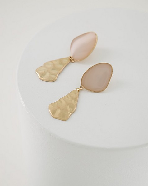 Organic Epoxy Drop Earrings -  lightpink