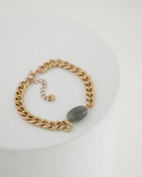 Detailed Knot & Stone Chain Bracelet -  grey