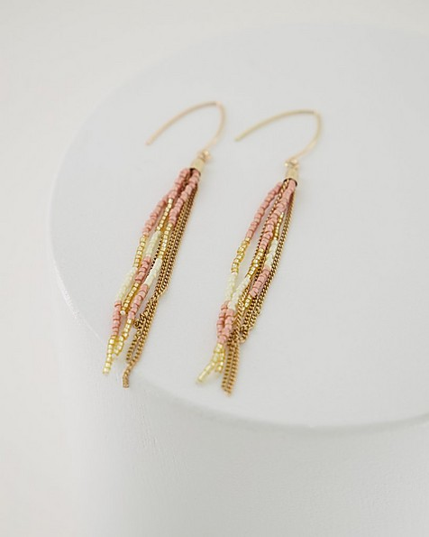 Beaded Multi-Strand Drop Earrings -  pink