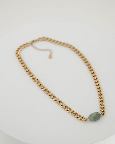 Detailed Knot & Stone Chain Necklace -  grey