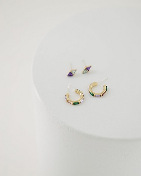 2-Pack Rainbow Stud & Huggie Earring Set -  assorted