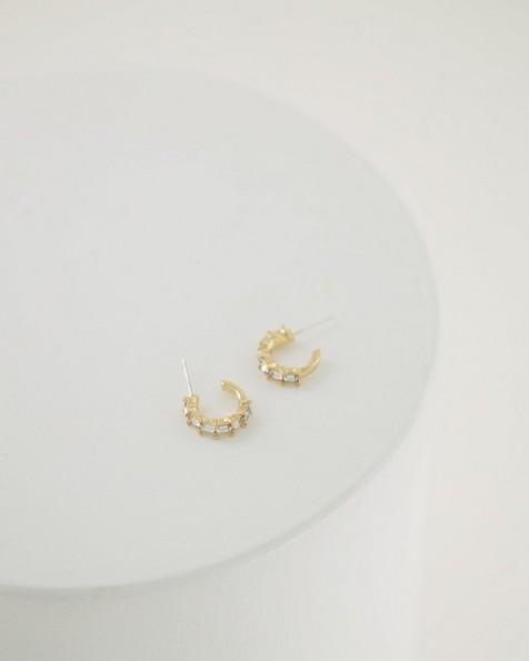 Delicate Baguette Hoop Earrings -  milk