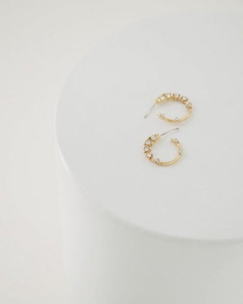 Scattered Diamante Ring Stud Earrings -  milk