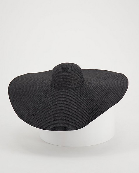 Orchid Exaggerated Wide Brim Hat -  black
