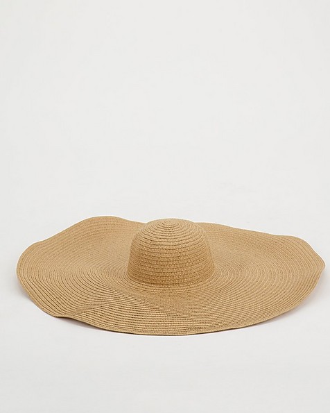 Orchid Exaggerated Wide Brim Hat -  oatmeal