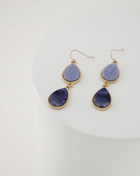 Natural Stone Double Drop Earrings -  navy