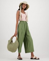 Oden Wide Leg Pull On Pants -  green