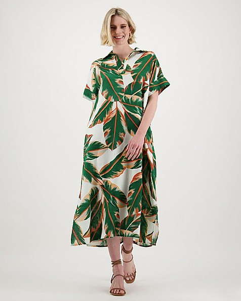 Inez Printed Dress -  orange