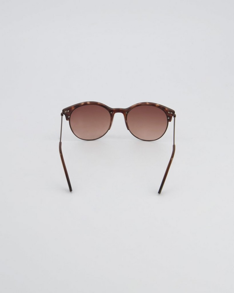 Poetry Round Clubmaster Sunglasses  -  brown-gold