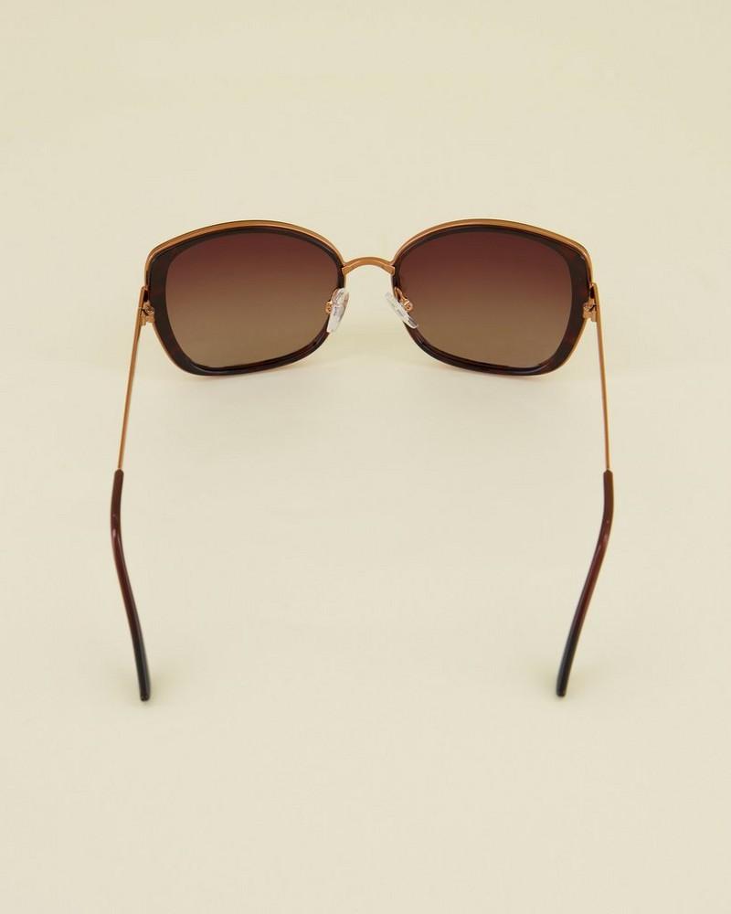 Polarised Modern Square Sunglasses -  brown-gold
