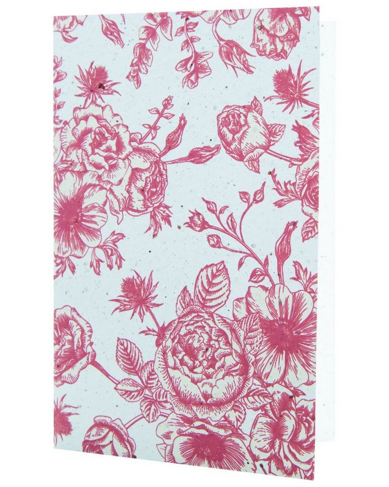Growing Paper Red Floral Card -  assorted