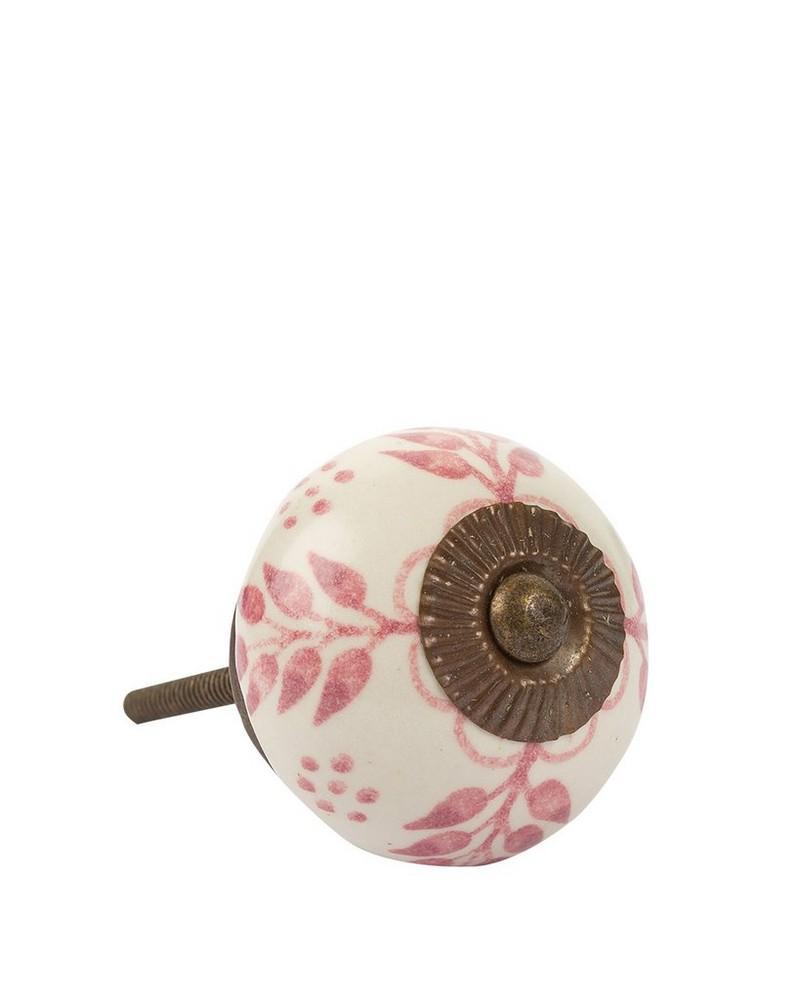 Pink Leaf Knob -  pink-white