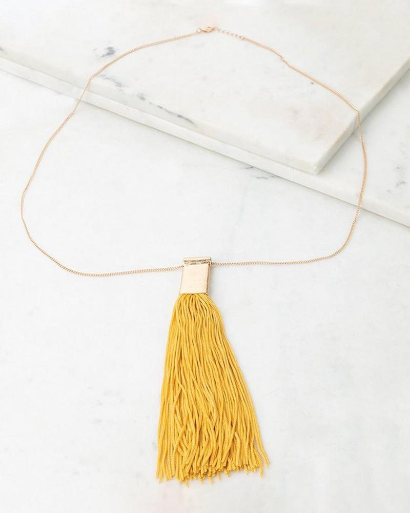 Tassle Pendant Necklace -  gold-ochre