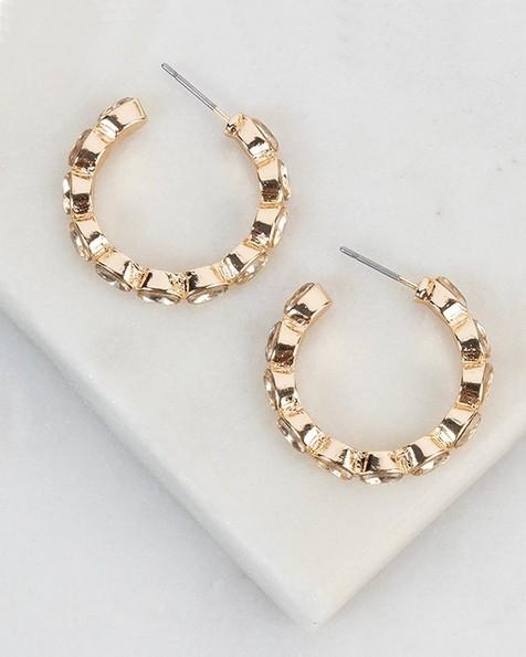 Medium Encrusted Hoop Earrings -  gold
