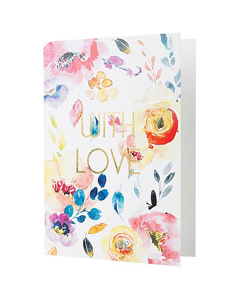 Love Letters Watercolour With Love Card -  assorted