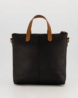 Colene Small Shopper Leather Bag -  black-tan