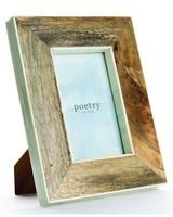 Wood with Bone Border Frame 4 x 6 -  brown-white