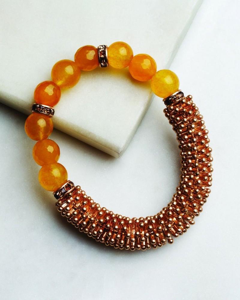 Chunky Beaded Stretch Bracelet -  gold-brown