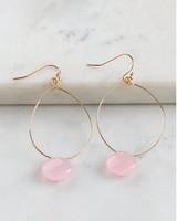 Teardrop & Stone Drop Earrings -  gold-pink