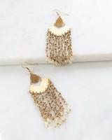 Delicate Metal & Bead Chandelier Earrings -  gold-gold