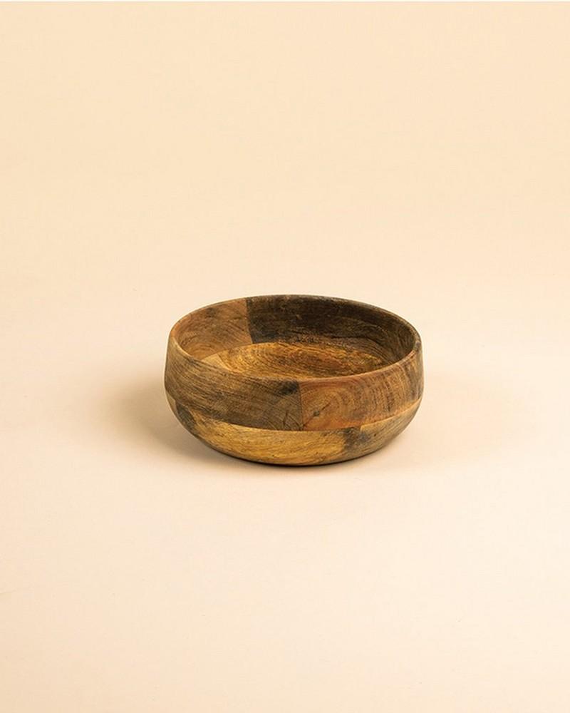 Small Acacia Wood Bowl -  brown