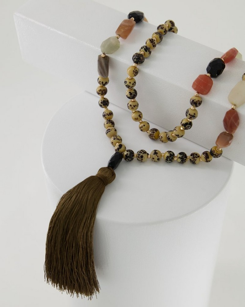 Tassel & Speckled Natural Stone Pendant Necklace -  nude-brown