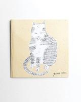 Gemma Orkin Yellow Cat Card -  yellow
