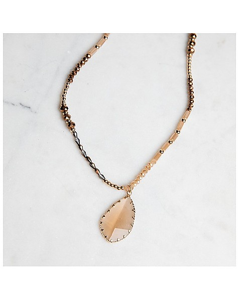 Stone & Bead Pendant Necklace -  gold-brown