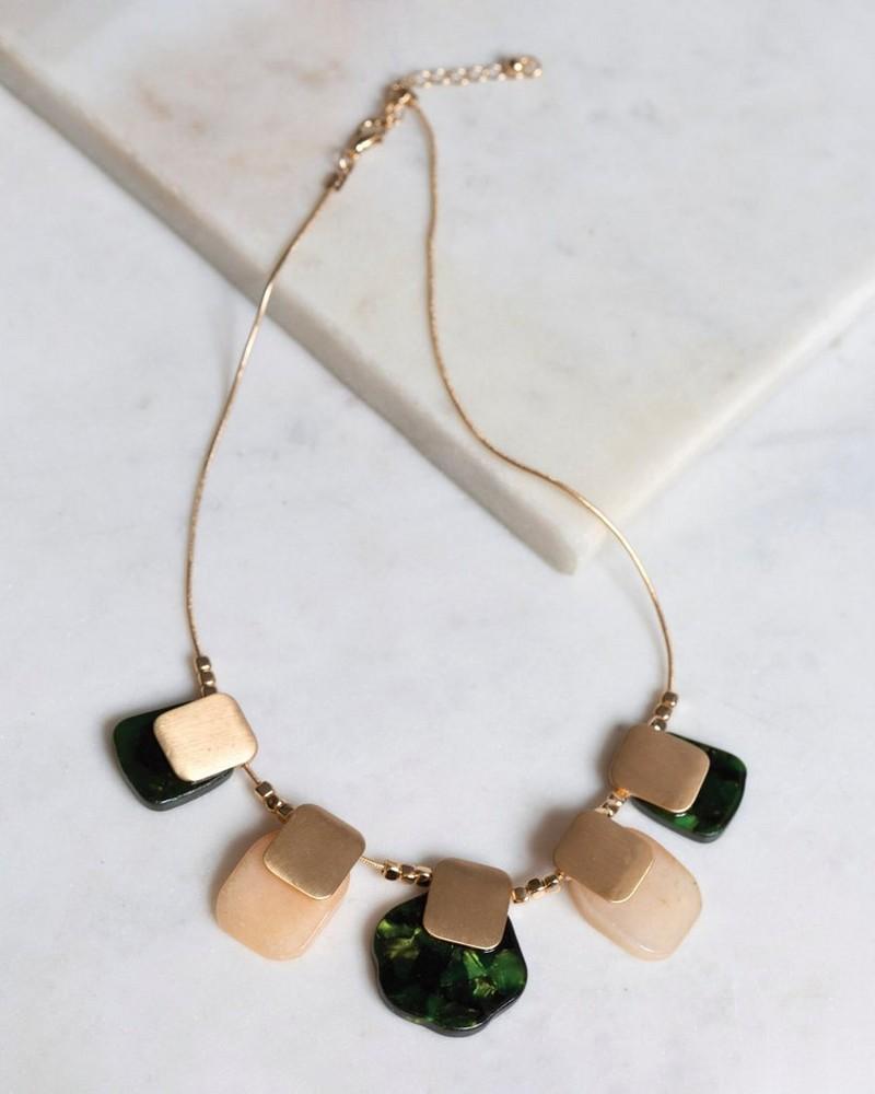 Stone & Metal Bib Necklace -  gold-pink