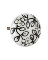 Black Etched Flower Knob -  black-white