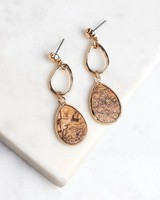 Speckled Stone Layered Teardrop Earrings -  gold-cream
