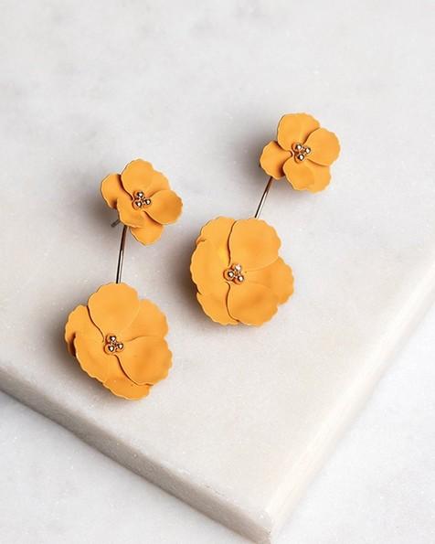 Flower Peek-a-Boo Stud Earrings -  gold-yellow