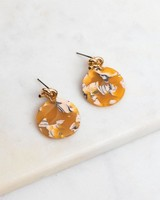 Knot & Resin Disc Drop Earrings -  gold-yellow