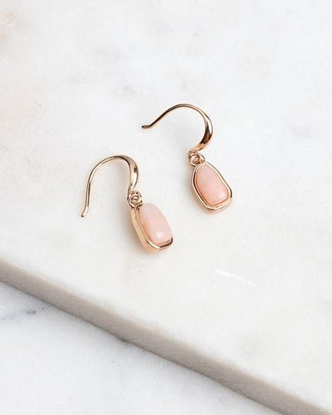 Mini Stone Drop Hook Earrings -  gold-nude